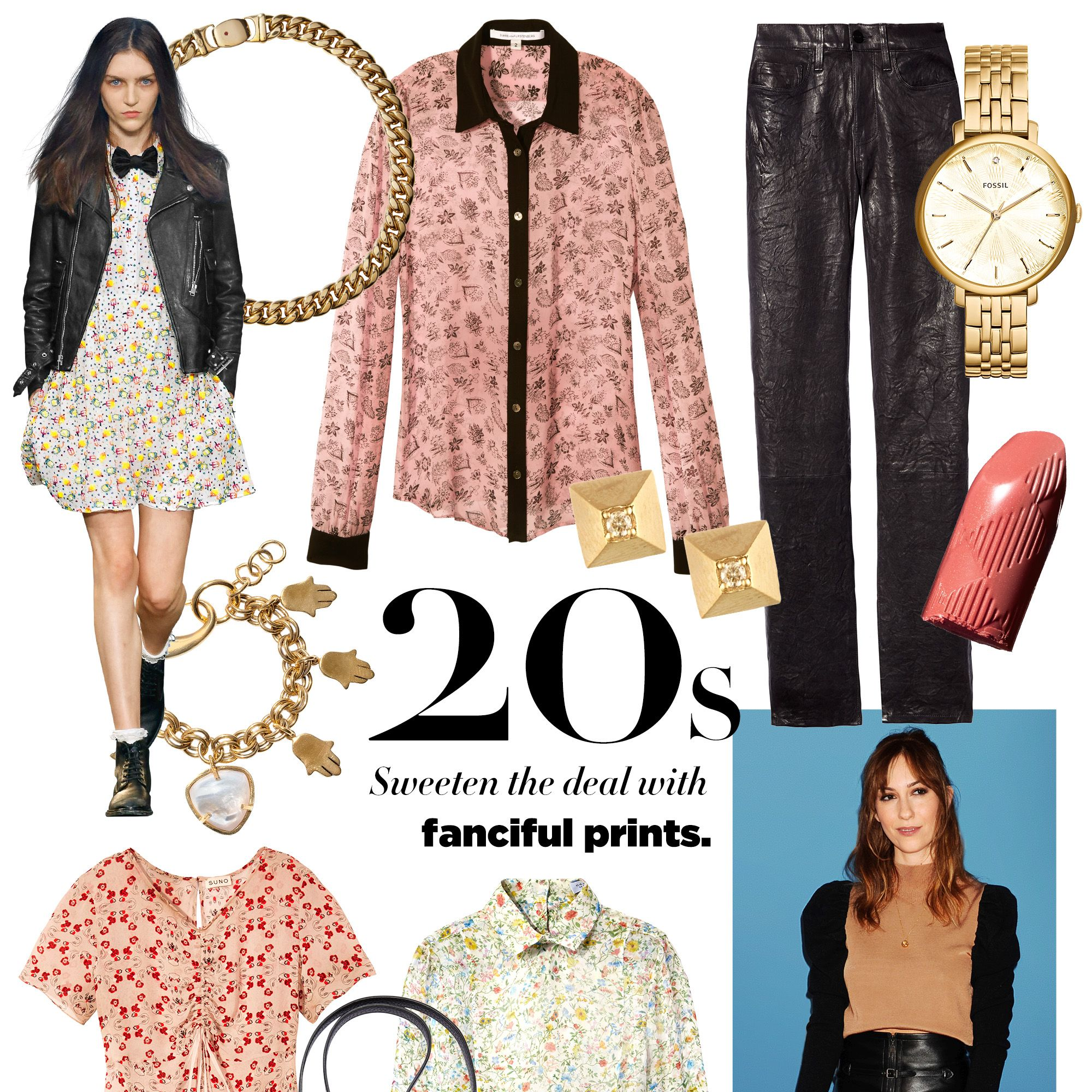 """<p><strong>Stylists's Tip: </strong>Toughen up flowered patterns with black leather.</p><p><strong>Roberto Coin </strong>necklace, $12,300, <a href=""""https://shop.harpersbazaar.com/jewelry/"""" target=""""_blank"""">shopBAZAAR.com</a><img src=""""http://assets.hdmtools.com/images/HBZ/Shop.svg"""" class=""""icon shop"""">&#x3B; <strong>Diane von Furstenberg </strong><span class=""""redactor-invisible-space"""" style=""""line-height: 1.6em&#x3B; background-color: initial&#x3B;"""">blouse, $298, <a href=""""http://www.dvf.com/dvf-mariah-chiffon-blouse/S937101G15W.html?dwvar_S937101G15W_color=SMFPB&dwvar_S937101G15W_size=2#cgid=blouses"""" target=""""_blank"""">dvf.com</a>&#x3B; <strong>Hirotaka </strong><span class=""""redactor-invisible-space"""">earrings, $350, <a href=""""http://www.hiro-taka.com/"""" target=""""_blank"""">hiro-taka.com</a>&#x3B; <strong></strong><strong>Frame Denim </strong>pants, $950, <a href=""""https://shop.harpersbazaar.com/designers/frame/le-skinny-leather-pants"""" target=""""_blank"""">shopBAZAAR.com</a><img src=""""http://assets.hdmtools.com/images/HBZ/Shop.svg"""" class=""""icon shop"""">&#x3B; <strong>Fossil </strong><span class=""""redactor-invisible-space"""">watch, $205, <a href=""""https://www.fossil.com/us/en/watches/women-watches/view-all.html"""" target=""""_blank"""">fossil.com</a>&#x3B; <strong>Burberry </strong><span class=""""redactor-invisible-space"""">Kisses lipstick in Peach Delight, $33, <a href=""""https://us.burberry.com/burberry-kisses-peach-delight-no57-p39696711"""" target=""""_blank"""">us.burberry.com</a>&#x3B; <strong>Lizzie Fortunato </strong><span class=""""redactor-invisible-space"""">charm bracelet, $295, <a href=""""https://shop.harpersbazaar.com/designers/l/lizzie-fortunato/tropics-charm-bracelet-6092.html"""" target=""""_blank"""">shopBAZAAR.com</a>&#x3B; <strong>Suno </strong><span class=""""redactor-invisible-space"""">dress, $595, Opening Ceremony, NYC, 646-237-6078&#x3B; <strong>Etienne Aigner </strong><span class=""""redactor-invisible-space"""">bag, $295, 212-334-1079&#x3B; <strong>Gabriela Hearst </strong><span class=""""redactor-invisible-space""""><span c"""