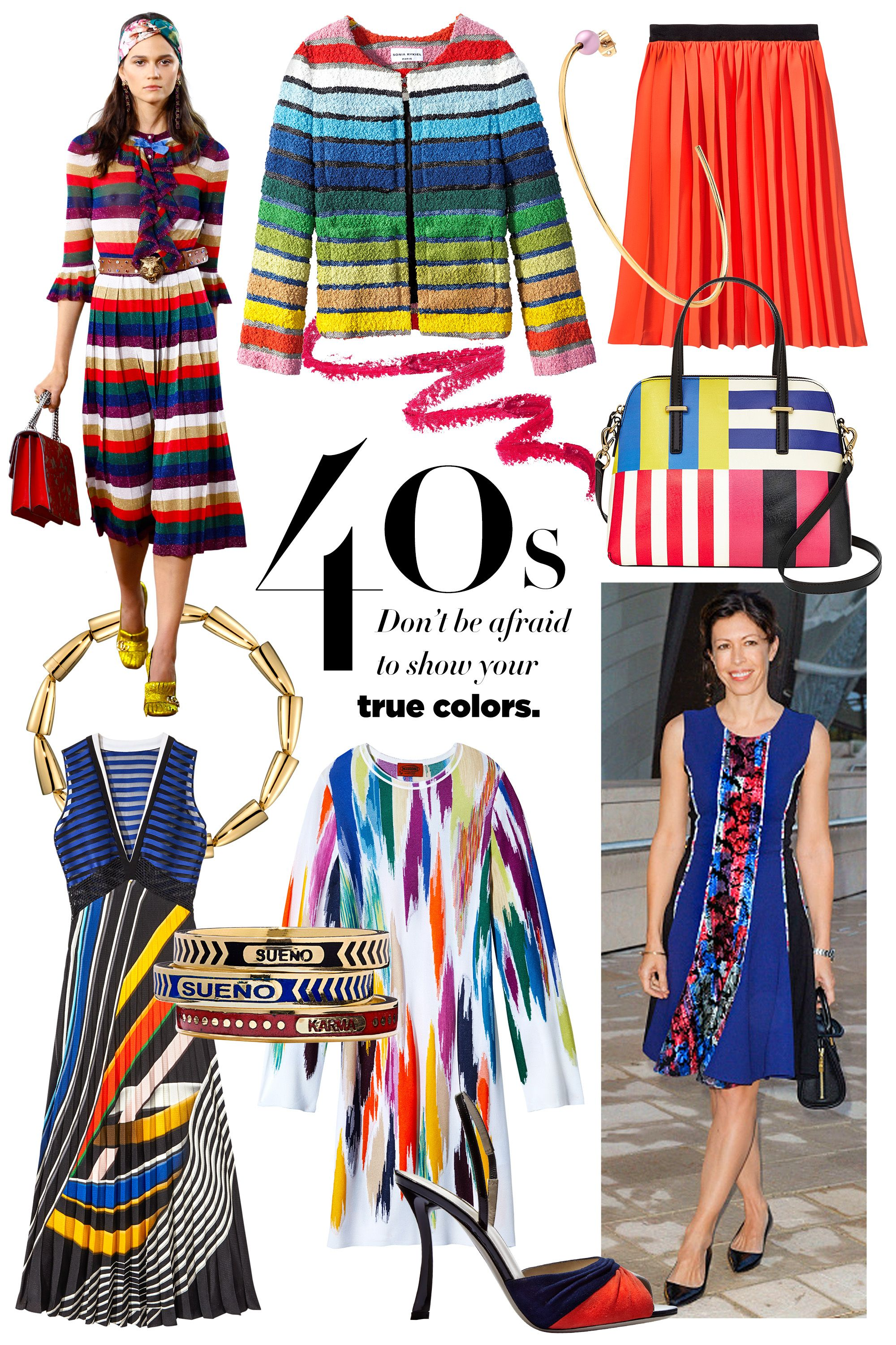 """<p><strong>Stylist's Tip: </strong>Go for basic shapes in rainbow-bright hues.</p><p><strong>Sonia Rykiel </strong>jacket, $1,490, <a href=""""https://shop.harpersbazaar.com/designers/s/sonia-rykiel/rainbow-tweed-jacket-6194.html"""" target=""""_blank"""">shopBAZAAR.com</a><img src=""""http://assets.hdmtools.com/images/HBZ/Shop.svg"""" class=""""icon shop"""">; <strong>Maybelline New York Lip </strong>Studio ColorBlur in Cherry Cherry Bang Bang, $9, <a href=""""http://www.maybelline.com/products/lip-makeup/lip-color/lip-studio-color-blur.aspx"""" target=""""_blank"""">maybelline.com</a>; <strong>Vita Fede</strong> earring, $300, <a href=""""https://shop.harpersbazaar.com/jewelry/earrings/"""" target=""""_blank"""">shopBAZAAR.com</a><img src=""""http://assets.hdmtools.com/images/HBZ/Shop.svg"""" class=""""icon shop"""">; <strong>Diane Von Furstenberg </strong><span class=""""redactor-invisible-space"""">skirt, similar style available at <a href=""""http://www.dvf.com/"""" target=""""_blank"""">dvf.com</a>; <strong>Kate Spade New York </strong><span class=""""redactor-invisible-space"""">bag, $278, <a href=""""https://www.katespade.com/handbags/view-all/"""" target=""""_blank"""">katespade.com</a>; <strong>Vhernier </strong><span class=""""redactor-invisible-space"""">necklace, 310-273-2444; <strong>Mary Katrantzou </strong><span class=""""redactor-invisible-space"""">dressm $2,275, Neiman Marcus, Beverly Hills, 310-550-5900; <strong>Foundrae </strong>rings, $1,295 each, <a href=""""http://foundrae.com/"""" target=""""_blank"""">foundrae.com</a>; </span></span></span></span><strong>Missoni </strong><span class=""""redactor-invisible-space"""">dress</span> $2,465, <a href=""""https://shop.harpersbazaar.com/designers/m/missoni/abstract-intarsia-knit-dress-6211.html"""" target=""""_blank"""">shopBAZAAR.com</a><img src=""""http://assets.hdmtools.com/images/HBZ/Shop.svg"""" class=""""icon shop"""">; <strong>Giorgio Armani </strong>sandal, $825, 212-988-9191.</p><p><em>Runway look: Gucci</em></p>"""