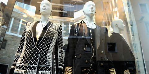 Collar, Mannequin, Dress shirt, Fashion, Blazer, Retail, Button, Street fashion, Fashion design, Collection,
