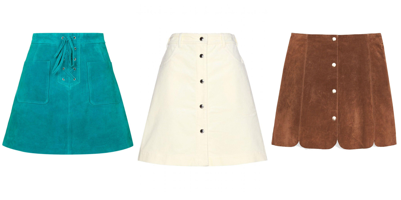 "<p>Embrace the bohemian mood in sumptuous suede. </p><p><em>Topshop skirt, $150, <a href=""http://us.topshop.com/en/tsus/product/clothing-70483/skirts-70504/pelmet-mini-skirts-2390284/lace-up-suede-skirt-4581448?bi=0&ps=200"" target=""_blank"">topshop.com</a>&#x3B; Maison Kitsune skirt $263, <a href=""http://www.mytheresa.com/en-us/cotton-skirt-492155.html?catref=category"" target=""_blank"">mytheresa.com</a>&#x3B; Mango skirt, $80, <a href=""http://shop.mango.com/US/p0/women/clothing/skirts/suede-skirt/?id=53070060_CG&n=1&s=prendas.faldas&ident=0__0_1446500126832&ts=1446500126832&p=92"" target=""_blank"">mango.com</a>.</em></p>"