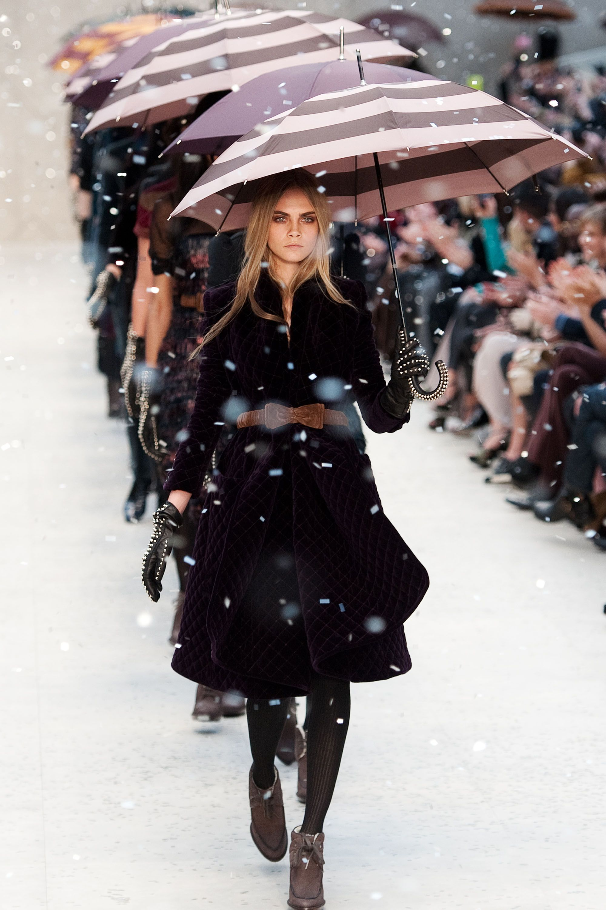 <p>File Burberry's Fall 2012 show under: the most epic snow storm we've seen to date. Led by super star Cara Delevingne and complete with studded gloves and umbrellas, this moment was one for the fashion history books. </p>