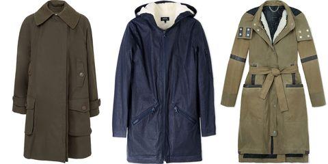 "<p><em><strong>Leon Max</strong> coat, $398, <a href=""https://shop.harpersbazaar.com/designers/leon-max/"" target=""_blank"">shopBAZAAR.com</a>; <strong>A.P.C.</strong> coat, $650, <a href=""https://shop.harpersbazaar.com/designers/a/apc/apc-coat-6167.html"" target=""_blank"">shopBAZAAR.com</a>; <strong>Belstaff</strong> coat, $2695, <a href=""https://shop.harpersbazaar.com/designers/belstaff/ansel-signature-8oz-waxed-cotton-jacket/"" target=""_blank"">shopBAZAAR.com</a>. </em><em></em></p>"