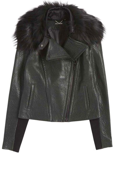 "<p><strong>Yigal Azrouel </strong>jacket, $1,950 <strong><a href=""https://shop.harpersbazaar.com/designers/y/yigal-azrouel/fur-collar-leather-jacket-6512.html"" target=""_blank"">shopBAZAAR.com</a></strong>.</p>"