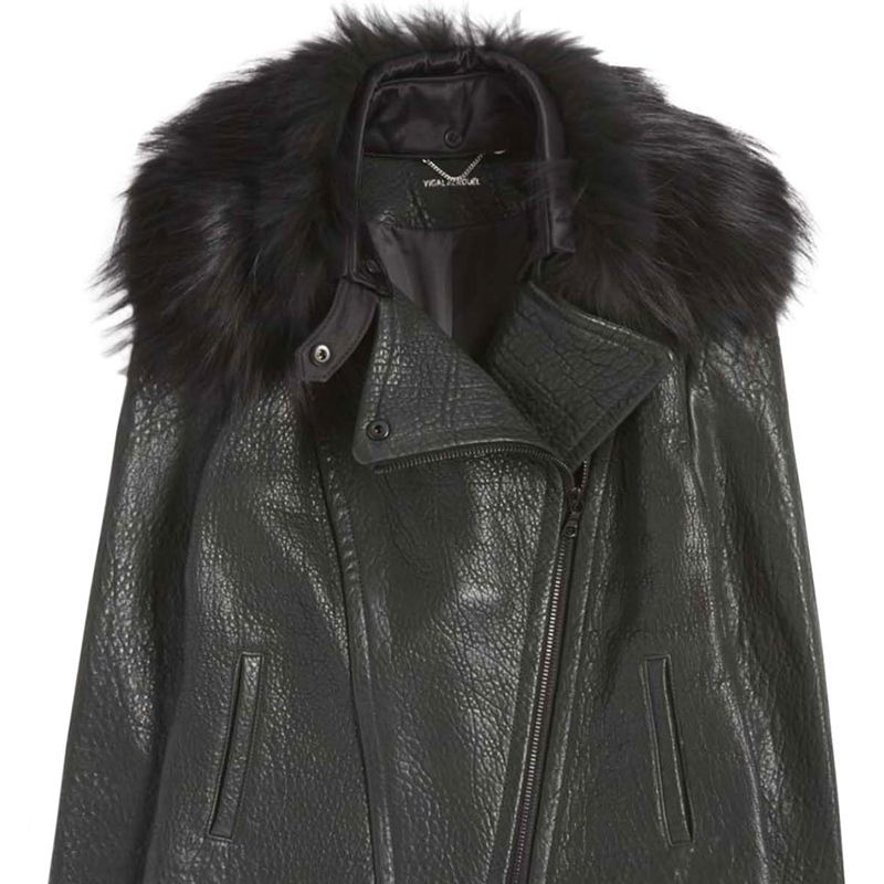 "<p><strong>Yigal Azrouel </strong>jacket, $1,950 <strong><a href=""https://shop.harpersbazaar.com/designers/y/yigal-azrouel/fur-collar-leather-jacket-6512.html"" target=""_blank"">shopBAZAAR.com</a></strong>.</p>"