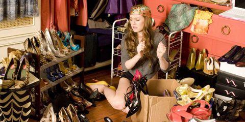 Bag, Fashion accessory, Luggage and bags, Retail, Collection, Headpiece, Shoulder bag, High heels, Handbag, Box,