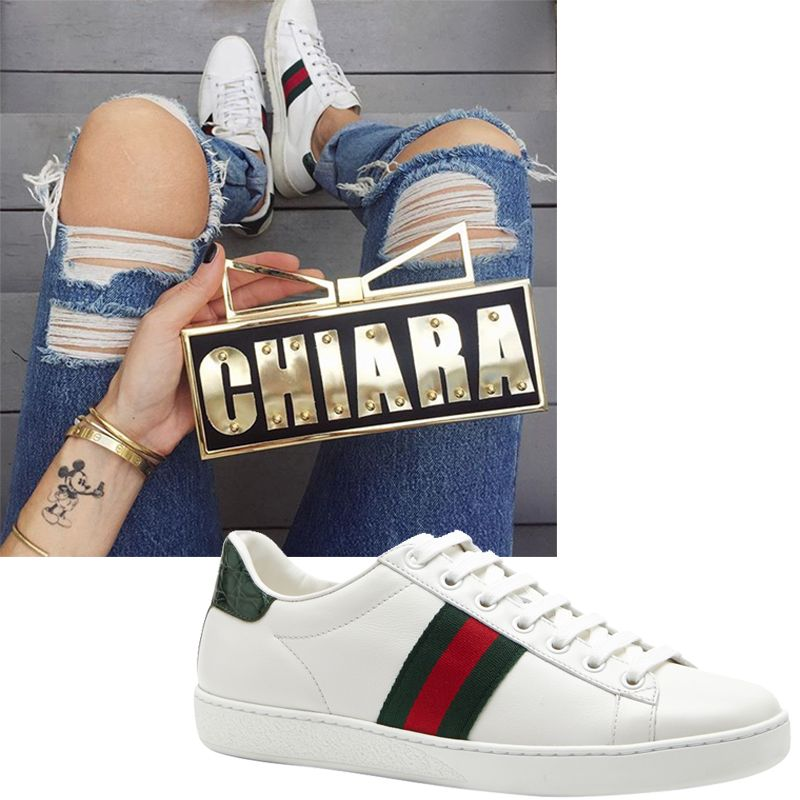"<p><em><strong>Gucci</strong> sneakers, $525, <a href=""https://shop.harpersbazaar.com/designers/gucci/miro-soft-lace-up-sneaker/"" target=""_blank"">shopBAZAAR.com</a>.</em></p>"