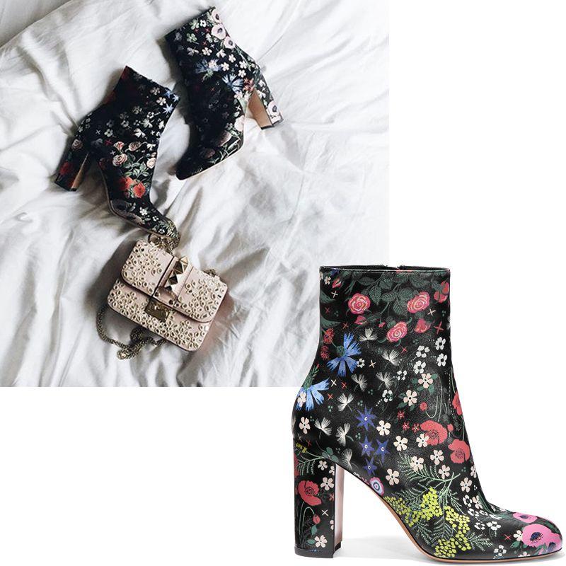 "<em><strong>Valentino</strong> boots, $1495, <a href=""https://shop.harpersbazaar.com/designers/valentino/garden-print-ankle-boot/"" target=""_blank"">shopBAZAAR.com</a>.</em>"