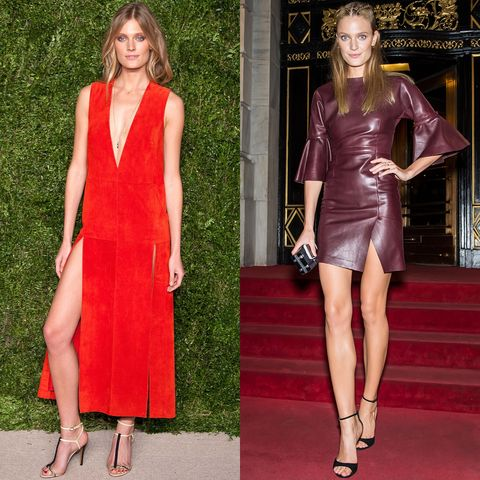 Clothing, Sleeve, Shoulder, Dress, Red, Joint, Style, Formal wear, Fashion model, One-piece garment,