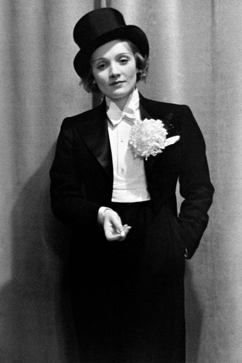 The original style chameleon , Marlene Dietrich frequently transformed her style under the spotlight. She was one of the first women to be photographed wearing a full tuxedo in the 30s, which contrasted her blonde wavy locks. Other photographs show her wearing ties, bulky blazers, or feminine midi skirts and lush furs. She opened the public's eyes to ever-changing fashion and the fact that women can wear mens' pieces and still be elegant.
