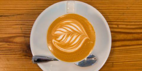 Cup, Serveware, Drinkware, Wood, Espresso, Drink, Single-origin coffee, Caffè macchiato, Flat white, Coffee,