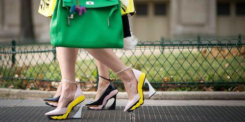 Footwear, Green, Yellow, Human leg, High heels, Bag, Sandal, Street fashion, Fashion, Basic pump,