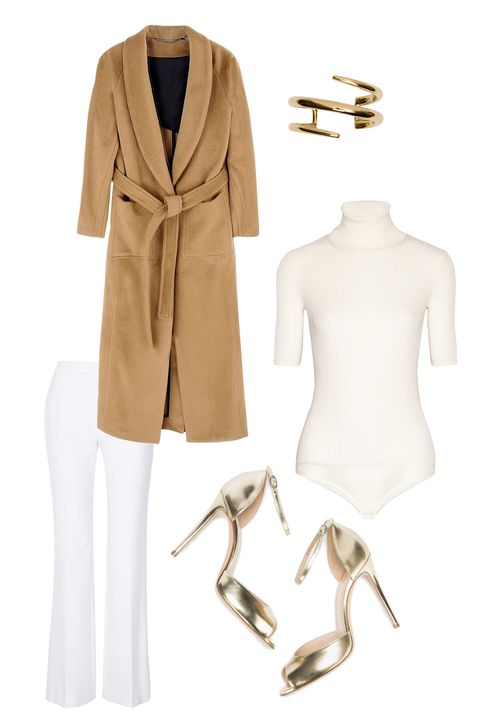 "<p>By now, you certainly know that ivory tones are appropriate post-Labor Day. Around the holidays, the wintry shade feels fresh and surprisingly bold. Gold accessories offset a chic white-on-white outfit; a creamy camel coat will always be in style. </p><p><strong>Diane von Furstenberg </strong>Joan Stretch-Crepe Wide-Leg Pants, $340, <a href=""http://www.net-a-porter.com/us/en/product/645171/diane_von_furstenberg/joan-stretch-crepe-wide-leg-pants"" target=""_blank"">net-a-porter.com</a>; <strong>FWSS</strong> Robe Coat, $775, <a href=""https://shop.harpersbazaar.com/designers/f/fwss/fwss-coat-6118.html"" target=""_blank"">shopBAZAAR.com</a><span class=""redactor-invisible-space""><a href=""https://shop.harpersbazaar.com/designers/f/fwss/fwss-coat-6118.html""></a>; <strong>Jennifer</strong> <strong>Fisher</strong> Small Twisted Cylinder Cuff, $1,050, <a href=""https://shop.harpersbazaar.com/designers/j/jennifer-fisher/small-twisted-cylinder-cuff-6371.html"" target=""_blank"">shopBAZAAR.com</a><span class=""redactor-invisible-space"">; </span><strong>Theory</strong> Dorsianne Ribbed Stretch Wool-Blend Turtleneck Bodysuit, $265, <a href=""http://www.net-a-porter.com/us/en/product/606379"" target=""_blank"">net-a-porter.com</a>; </span><strong>M. Gemi</strong> The Amare pumps, $198, <a href=""http://mgemi.com/w/pumps/the-amare/01_1047_02.html/#!/color/040"" target=""_blank"">mgemi.com</a></p>"