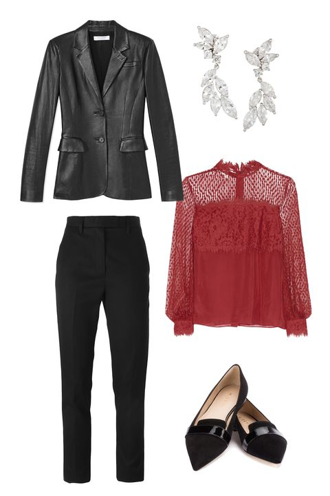 "<p>If you're heading straight from the office to a cocktail party, a pair of fantastic, pointed-toe flats will never do you wrong. Sheer detailing on a jewel-toned, long-sleeved blouse is both seasonally appropriate and subtly sexy. </p><p><strong>Rochas</strong> Slim Tailored Trousers, $807, <a href=""http://www.farfetch.com/shopping/women/rochas-slim-tailored-trousers-item-11168751.aspx?storeid=9532&ffref=lp_pic_15_3_"" target=""_blank"">farfetch.com</a>; <strong>Altuzarra</strong> Two-Button Leather Blazer, $2,895, <a href=""https://shop.harpersbazaar.com/designers/a/altuzarra/two-button-leather-blazer-7037.html"" target=""_blank"">shopBAZAAR.com</a>; <strong>Kenneth</strong> <strong>Jay</strong> <strong>Lane</strong> Rhodium-Plated Cubic Zirconia Earrings, $115, <a href=""http://www.net-a-porter.com/us/en/product/644889/kenneth_jay_lane/rhodium-plated-cubic-zirconia-earrings"" target=""_blank"">net-a-porter.com</a>; <strong>Temperley</strong> <strong>London</strong> Constance Point d'Espirt, Lace and Crepe de Chine Blouse, $650, <a href=""http://www.net-a-porter.com/us/en/product/566823/temperley_london/constance-point-d-esprit--lace-and-crepe-de-chine-blouse"" target=""_blank"">net-a-porter.com</a>; <strong>M.</strong> <strong>Gemi</strong> The Tuta flats, $198, <a href=""http://mgemi.com/w/flats/the--tuta/00_1236_01.html/#!/color/001"" target=""_blank"">mgemi.com</a></p>"