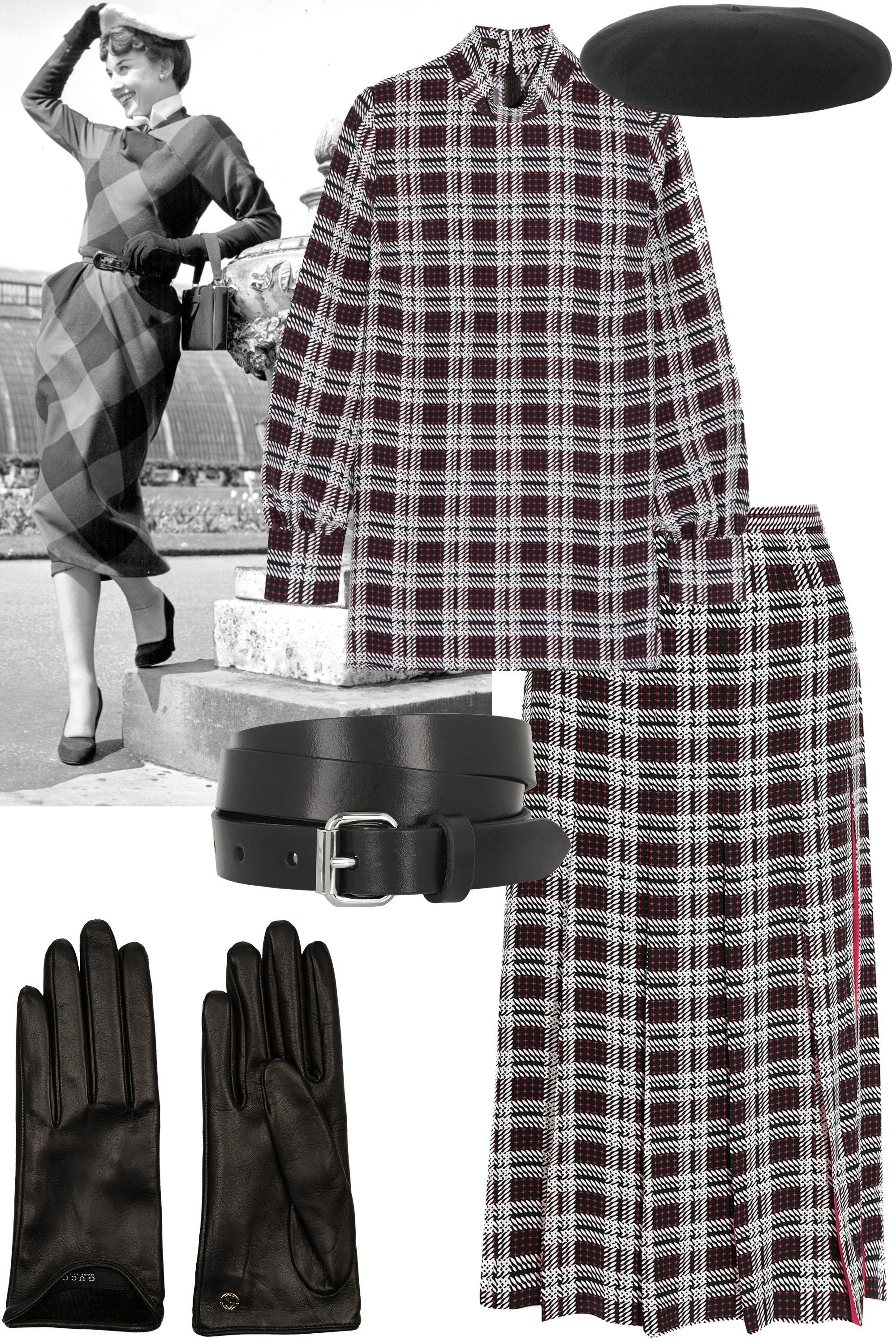 "<p>Plaid set + belt + beret + gloves</p><p><strong>Mother of Pearl</strong> top, $495, <a href=""http://www.net-a-porter.com/us/en/product/583078/Mother_of_Pearl/allen-printed-silk-top"">net-a-porter.com</a>; <strong>Mother of Pearl </strong>skirt, $695, <a href=""http://www.net-a-porter.com/us/en/product/583079/Mother_of_Pearl/dune-printed-silk-skirt"">net-a-porter.com</a>; <strong>Isabel Marant</strong> belt, $115, <a href=""http://www.net-a-porter.com/us/en/product/586359/Etoile_Isabel_Marant/romny-leather-belt"">net-a-porter.com</a>; <strong>Saint Laurent</strong> beret, $590, <a href=""http://www.net-a-porter.com/us/en/product/590734/Saint_Laurent/wool-felt-beret"" target=""_blank"">net-a-porter.com</a>; <strong>Gucci</strong> gloves, $425, <a href=""http://www.net-a-porter.com/us/en/product/504059/Gucci/leather-gloves"">net-a-porter.com</a>.</p>"