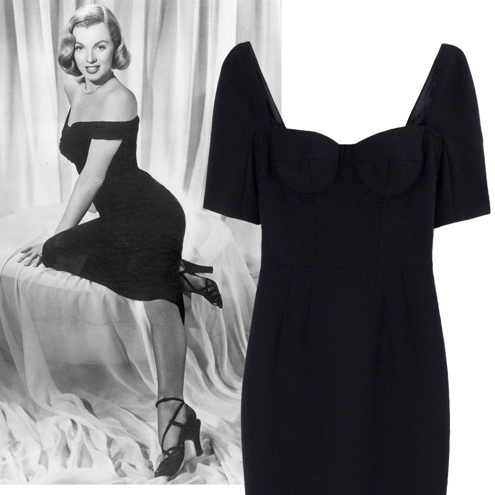 "<p>Hiphugging dress, midi length + strappy black heels</p><p><strong>Dolce & Gabbana</strong> dress, $2,945, <a href=""https://shop.harpersbazaar.com/designers/d/dolce-and-gabbana/black-crepe-fitted-dress-5097.html"">shopBAZAAR.com</a>&#x3B; <strong>Stuart Weitzman</strong> heel, $415, <a href=""https://shop.harpersbazaar.com/designers/s/stuart-weitzman/nudist-textured-sandal-6172.html"">shopBAZAAR.com</a>.</p>"
