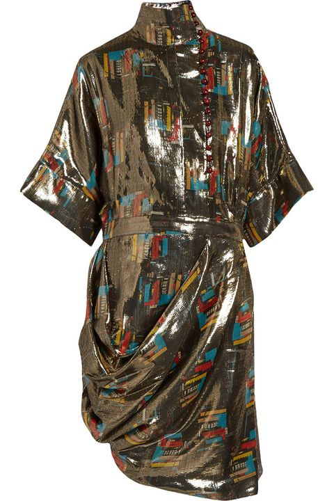 "<p><em>J.W.Anderson dress, $2,260, <a href=""http://www.net-a-porter.com/us/en/product/607242/JWAnderson/printed-silk-and-lurex-blend-lame-dress"" target=""_blank"">net-a-porter.com</a>.</em></p>"