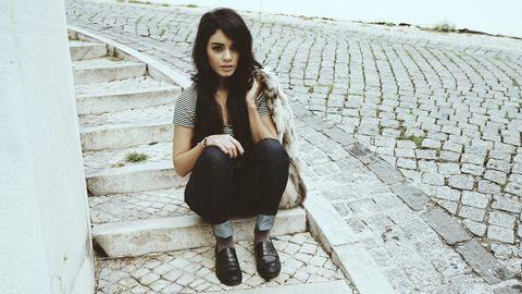 Human leg, White, Style, Street fashion, Pattern, Boot, Knee, Fashion, Black hair, Beauty,