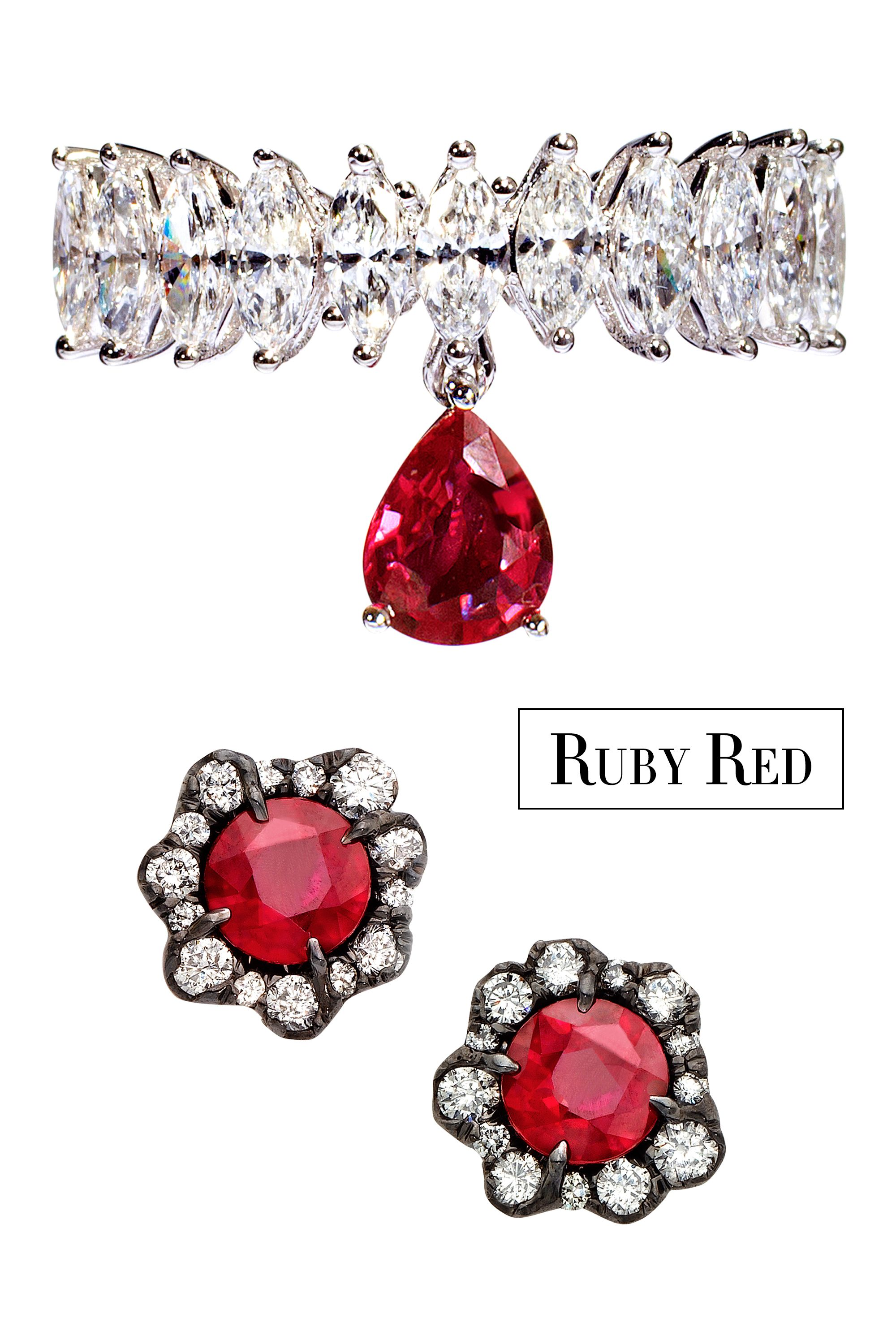 "<p>Update your jewelry collection with traditional blood-red rubies. A modern ring or a delicate pair of studs looks both fresh and glamorous. </p><p><strong>Simon G. Jewelry </strong>ring, $6,000, <a href=""https://www.simongjewelry.com/"" target=""_blank"">simongjewelry.com</a>; <strong>Kimberly McDonald x Gemfields</strong><span class=""redactor-invisible-space""> earrings, $33,400, Bergdorf Goodman, 212-872-2578.</span></p>"