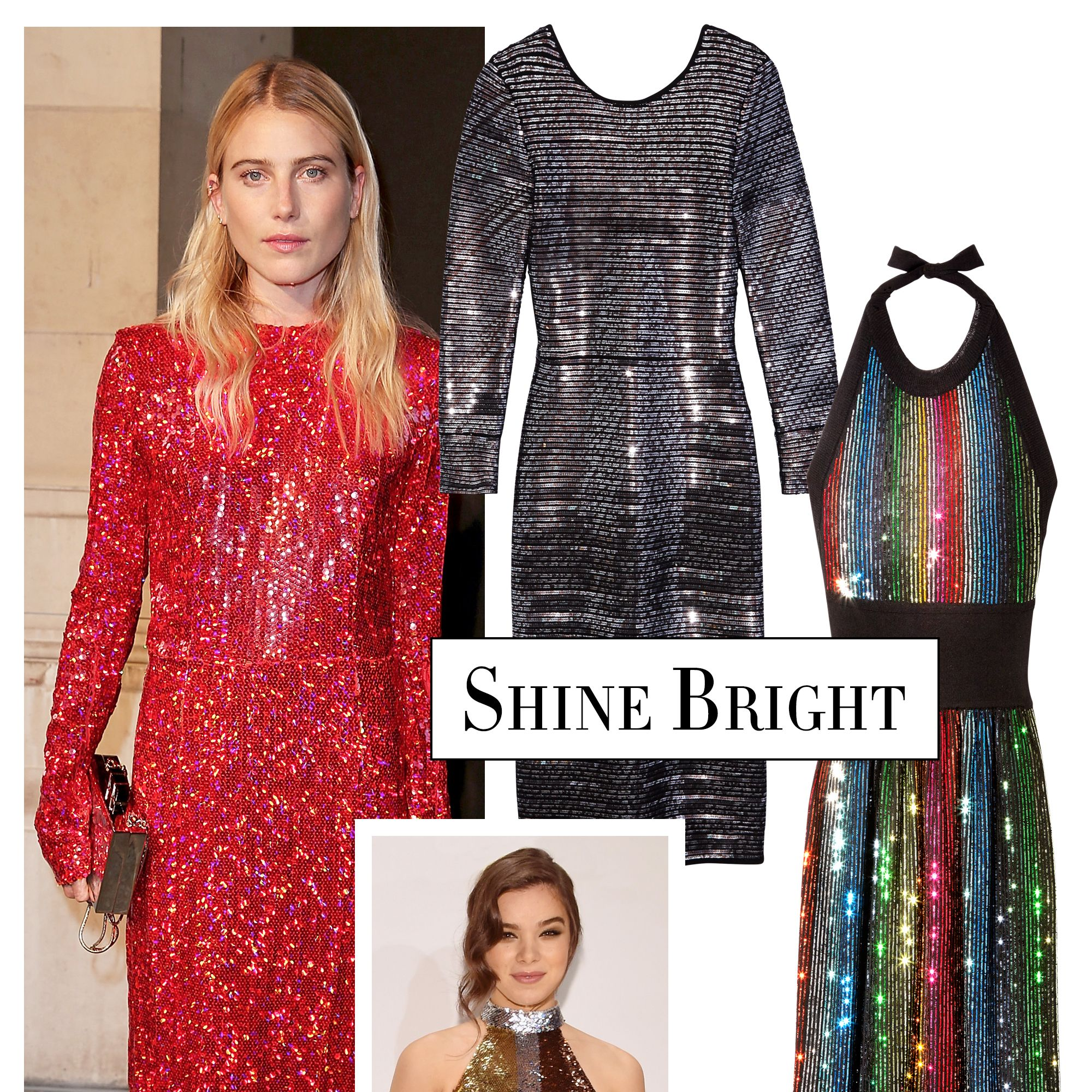 <p>Nothing says the holidays like sparkling sequins. Follow Dree Hemingway's lead and opt for a dress in single statement color, or go for a rainbow-hued design like Sonia Rykiel's disco-ready look.