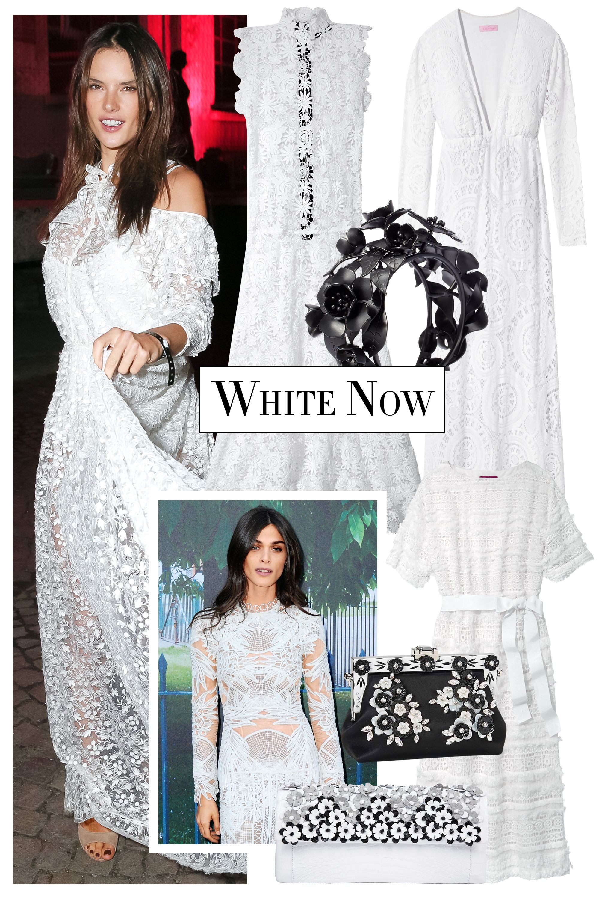 "<p>A romantic white dress is the look of the season. Take your cue from model and actress Elisa Sednaoui and balance an embroidered version with a striking noir-accented accessory. </p><p><strong>CH Carolina Herrera</strong> dress, $970, 212-744-2076; <strong>The Perfext</strong> dress, $1,995, <a href=""https://shop.harpersbazaar.com/designers/the-perfext/"" target=""_blank"">shopBAZAAR.com</a><img src=""http://assets.hdmtools.com/images/HBZ/Shop.svg"" class=""icon shop"">; <strong>Valentino Garavani</strong> cuff, $875, <a href=""http://www.valentino.com/us"" target=""_blank"">valentino.com</a>; <strong>Lily Pulitzer</strong> dress, $398, <a href=""http://www.lillypulitzer.com/"" target=""_blank"">lilypulitzer.com</a>; <strong>Nancy Gonzalez</strong> clutch, $2,700, Saks Fifth Avenue, 877-551-7257; <strong>Dolce & Gabbana</strong> clutch, $3,995, 877-70-DGUSA.</p>"