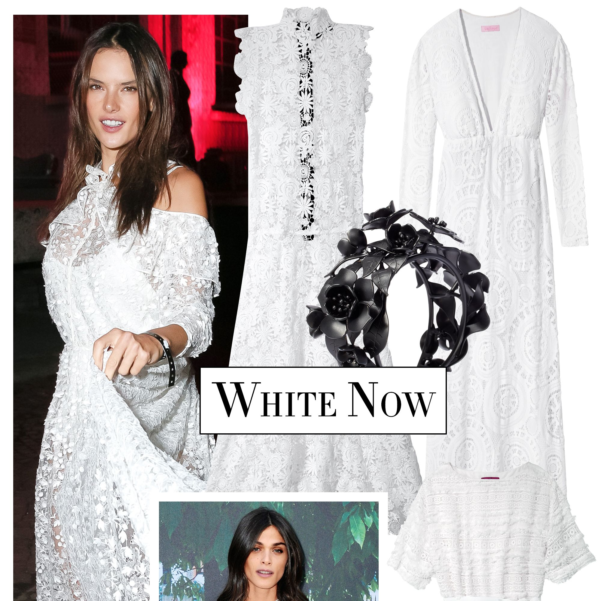 <p>A romantic white dress is the look of the season. Take your cue from model and actress Elisa Sednaoui and balance an embroidered version with a striking noir-accented accessory.