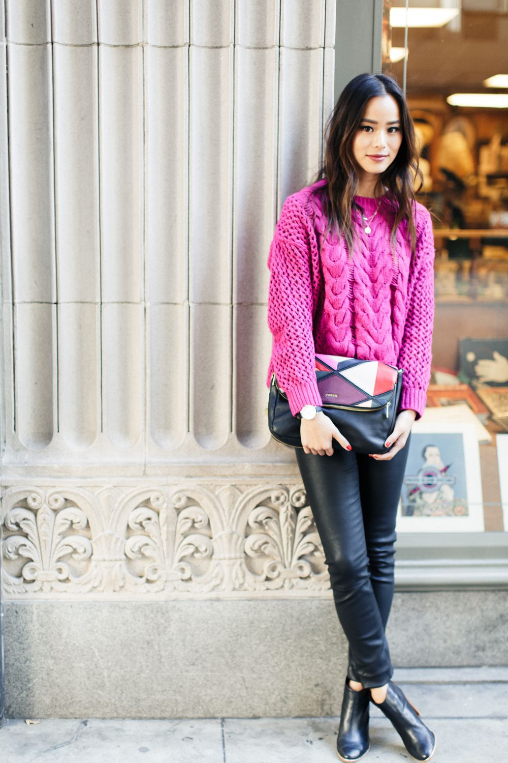 "<p>""Cozy knit sweaters in bright colors are festive enough to wear to a holiday party or dinner, without overdoing it. This bag is perfect to wear as a clutch to a holiday party. It also has a strap that untucks so you can wear it as a crossbody bag while you're out and about running holiday errands.""</p>"