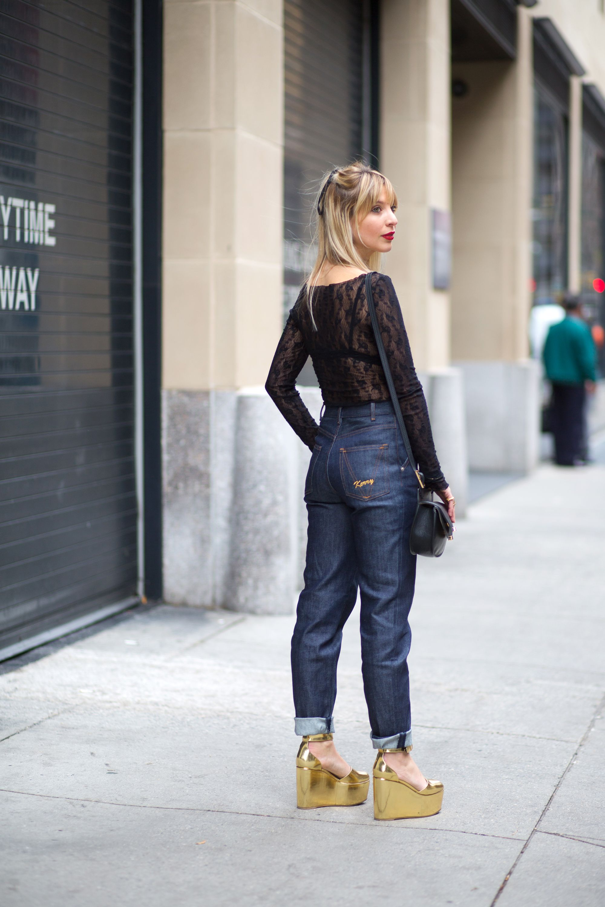 "<p>""These monogrammed Vanessa Seward jeans are a made of a raw, structured denim, so I thought this sheer, lace top would make for a nice contrast.""<em></em></p><p><em>Vanessa Seward jeans, $280, <a href=""http://www.net-a-porter.com/us/en/product/590437/Vanessa_Seward/victoire-high-rise-slim-leg-jeans"" target=""_blank"">net-a-porter.com</a>; Wolford bodysuit, $325, <a href=""http://www.wolfordshop.com/product/boutique/lilie-string-body/79098/bodywear"" target=""_blank"">wolford.com</a>; Celine shoes; Chloe bag, $1,090, <a href=""http://www.stylebop.com"" target=""_blank"">stylebop.com</a>.</em><br></p>"
