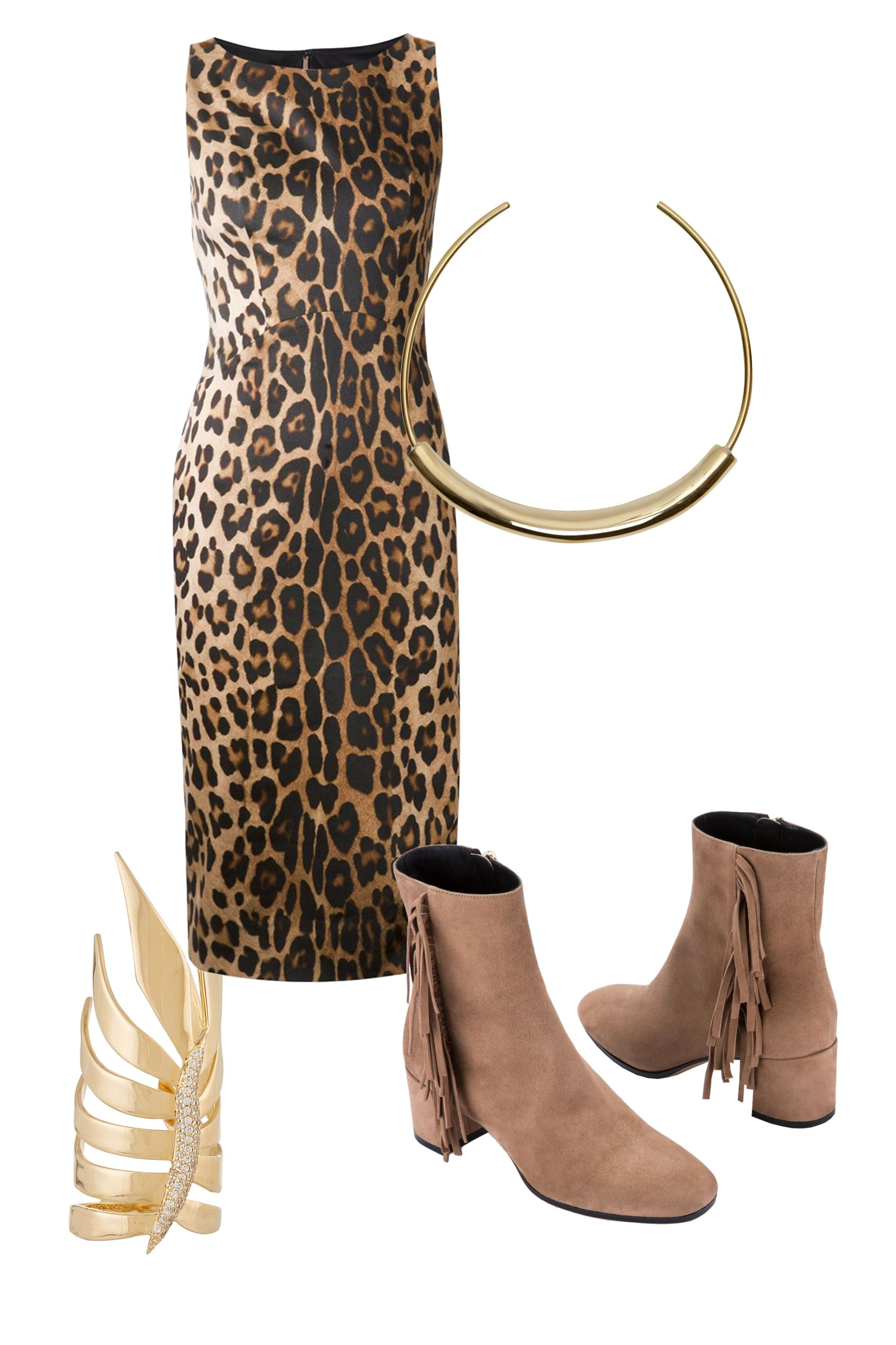 "<p>Rather than default to your L.B.D., try an ankle-skimming midi in a fun leopard print. Fringed booties are a fresh alternative to heels. A couple gold statement accessories and you're set.</p><p><strong>Eddie</strong> <strong>Borgo</strong> Frond Gold-Plated Cubic Zirconia Ring, $200, <a href=""http://www.net-a-porter.com/us/en/product/602544/eddie_borgo/frond-gold-plated-cubic-zirconia-ring"" target=""_blank"">net-a-porter.com</a>&#x3B; <strong>Altuzarra</strong> Leopard Print Fitted Dress, $907, <a href=""http://www.farfetch.com/shopping/women/altuzarra-leopard-print-fitted-dress--item-11059617.aspx?storeid=9531&ffref=lp_pic_70_8_"" target=""_blank"">farfetch.com</a>&#x3B; <strong>Jennifer</strong> <strong>Fisher</strong> Short Cylinder Choker, $1,225, <a href=""https://shop.harpersbazaar.com/designers/j/jennifer-fisher/short-cylinder-choker-6151.html"" target=""_blank"">shopBAZAAR.com</a>&#x3B; <strong>M. Gemi</strong> The Alumno boots, $348, <a href=""http://mgemi.com/w/all-shoes/the-alunno/01_1199_02.html/#!/color/981"" target=""_blank"">mgemi.com</a></p>"