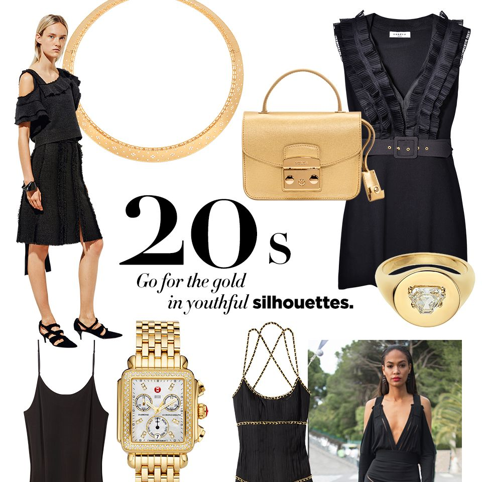 """<p><strong>STYLIST'S TIP: </strong>Get height—and glitz–with a strappy sandal.</p><p><strong>Roberto Coin </strong>necklace, $20,400, <a href=""""http://robertocoin.com/"""" target=""""_blank"""">us.robertocoin.com</a>&#x3B; <strong>Furla </strong><span class=""""redactor-invisible-space"""">bag, $328, <a href=""""http://us.furla.com/"""" target=""""_blank"""">furla.com</a>&#x3B; <strong>Sandro </strong><span class=""""redactor-invisible-space"""">dress, $530, <a href=""""http://us.sandro-paris.com/"""" target=""""_blank"""">us.sandro-paris.com</a>&#x3B; <strong>Jemma Wynne </strong><span class=""""redactor-invisible-space"""">ring, $7,350, <a href=""""https://www.ylang23.com/product/round+signet+ring+with+diamond+center.do?sortby=newArrivals&refType=&from=fn&ecList=7&ecCategory=100301"""">shopBAZAAR.com</a><img src=""""http://assets.hdmtools.com/images/HBZ/Shop.svg"""" class=""""icon shop"""">&#x3B; <strong>Eileen Fisher </strong><span class=""""redactor-invisible-space"""">dress, <a href=""""http://www.eileenfisher.com/EileenFisher.jsp"""" target=""""_blank"""">eileenfisher.com</a>&#x3B; <strong>Michele </strong><span class=""""redactor-invisible-space"""">watch, $2,595, <a href=""""http://www.michele.com/webapp/wcs/stores/servlet/HomepageView?langId=-1&storeId=12051&catalogId=10051&N=0"""" target=""""_blank"""">michele.com</a>&#x3B; <strong>Moschino </strong><span class=""""redactor-invisible-space"""">dress, $3,195, Saks Fifth Avenue, 877-551-7257&#x3B; <strong>Versace </strong><span class=""""redactor-invisible-space"""">Eros Femme, $120, <a href=""""http://www.versace.com/"""" target=""""_blank"""">us.versace.com</a>&#x3B; <strong>Leon Max Collection </strong><span class=""""redactor-invisible-space"""">sandal, $378, <a href=""""http://www.maxstudio.com/?gclid=CjwKEAiAp_WyBRD37bGB_ZO9qAYSJAA72Ikg5B_PbRPrv4Q28ZU11rWaI2qyNCnqQ7HkaEQXdGhbqBoCb6rw_wcB"""" target=""""_blank"""">maxstudio.com</a>. </span></span></span></span></span></span></span></span><br></p>"""