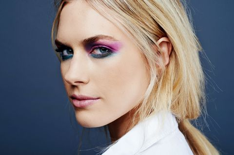 "<p>Take inspiration from Chanel's feminist-themed <a href=""http://www.harpersbazaar.com/beauty/makeup/advice/a3779/chanel-spring-2015-beauty/"" target=""_blank"">Spring '15 show</a> and let the colors fly. Dab a fluffy brush in bright fuchsia shadow ('1985') and blend it across your lids, slightly past the end of your brows. Next, blend purplish-navy ('Beat Down') below the start of your brow and into the crease, finishing with a shade of sea green ('Arctic') smudged along the lower lashes.</p>"