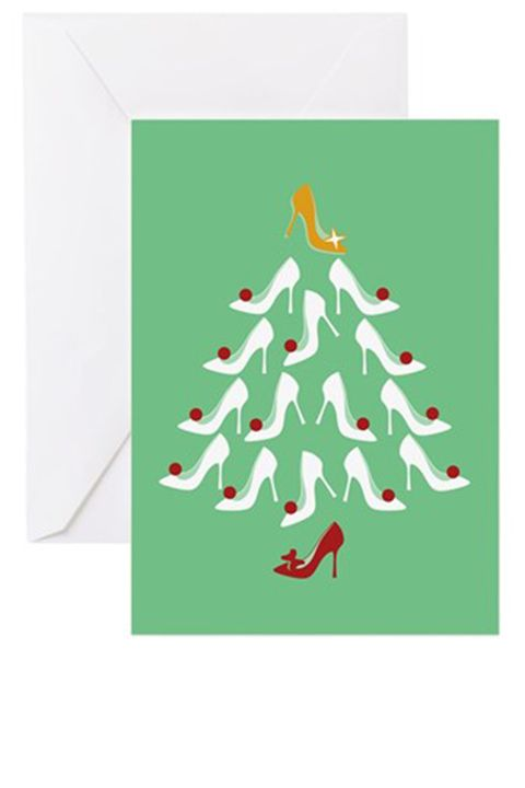 """<p><strong>Cafe Press </strong>High Heel Shoe Holiday Tree Greeting Card, 20 pack $25, <a href=""""http://www.cafepress.com/mf/48533512/high-heel-shoe-holiday-tree_greeting-cards?productId=755640917"""" target=""""_blank"""">cafepress.com</a>.</p>"""