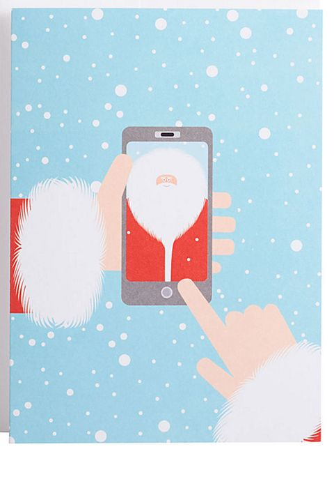 "<p><strong>Paper Source </strong>Santa Selfie Holiday Card, $3.95, <a href=""http://www.papersource.com/item/Santa-Selfie-Holiday-Card/3400_011/807229.html"" target=""_blank"">papersource.com</a>. </p>"