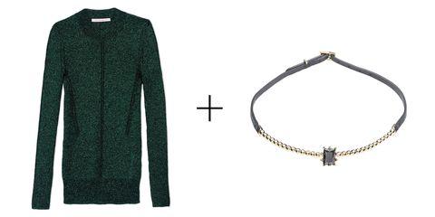 "<p><strong>Christopher Kane </strong>pullover, $858, <a href=""https://shop.harpersbazaar.com/designers/c/christopher-kane/christopher-kane-sweater-6141.html"" target=""_blank"">shopBAZAAR.com</a>; <strong>Eddie Borgo</strong> collar, $200, <a href=""https://shop.harpersbazaar.com/designers/e/eddie-borgo/dome-estate-collar-6948.html"" target=""_blank"">shopBAZAAR.com</a>. </p>"