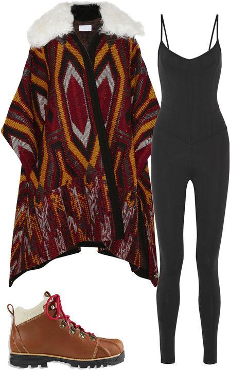 "<p><em>Chloé coat, $4,395, <a href=""http://www.net-a-porter.com/us/en/product/587143/chloe/shearling-trimmed-wool-blend-jacquard-cape"">net-a-porter.com</a>; Live the Process bodysuit, $245, <a href=""http://www.net-a-porter.com/us/en/product/612967/Live_The_Process/stretch-supplex-bodysuit"">net-a-porter.com</a>; </em><em>L.L. Bean boots, $179, <a href=""http://www.llbean.com/llb/shop/88322"" target=""_blank"">llbean.com</a>.</em></p>"