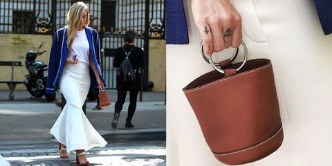Outerwear, Coat, Style, Bag, Dress, Fashion, Street fashion, Luggage and bags, Leather, Blond,