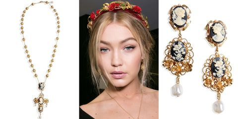 "<p>When it comes to ladylike decadence, Dolce & Gabbana is a go-to designer—not to mention, an inspiration for donning a headband <em>à la</em><em></em><i> </i>Gigi Hadid's look at the fall 2016 show. </p><p><em><strong>Dolce & Gabbana</strong> necklace, $1,375, <strong><a href=""https://shop.harpersbazaar.com/designers/d/dolce-and-gabbana/dolce-and-gabbana-necklace-6113.html"" target=""_blank"">shopBAZAAR.com</a></strong></em><span class=""redactor-invisible-space""><em>; <strong>Dolce & Gabbana </strong>earrings, $975, <strong><a href=""https://shop.harpersbazaar.com/designers/d/dolce-and-gabbana/cameo-faux-pearl-clip-earrings-5614.html"" target=""_blank"">shopBAZAAR.com</a></strong></em><span class=""redactor-invisible-space""><em><a href=""https://shop.harpersbazaar.com/designers/d/dolce-and-gabbana/cameo-faux-pearl-clip-earrings-5614.html""></a>.</em></span><br></span></p>"