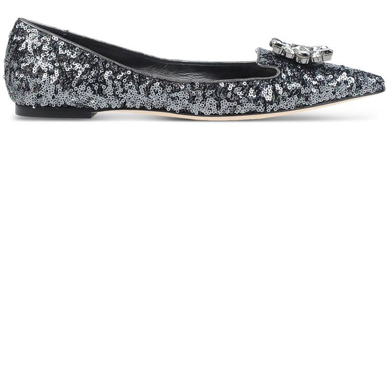 "<p><strong>Dolce & Gabbana</strong> flat, $795, <a href=""https://shop.harpersbazaar.com/designers/d/dolce-and-gabbana/gray-sequined-pointed-toe-flats-4916.html"" target=""_blank""><strong>shopBAZAAR.com</strong></a>.</p>"