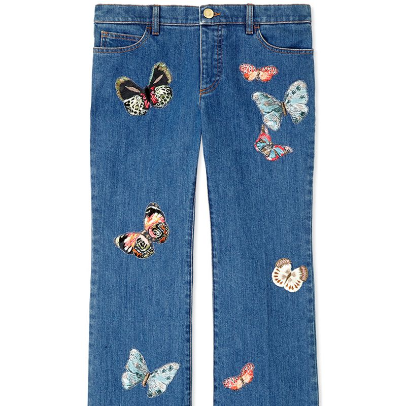 """<p><strong>Valentino</strong> jean, $3,590, <strong><a href=""""https://shop.harpersbazaar.com/designers/v/valentino/embroidered-butterfly-pattern-jean-7162.html"""" target=""""_blank"""">shopBAZAAR.com</a></strong><a href=""""https://shop.harpersbazaar.com/designers/v/valentino/embroidered-butterfly-pattern-jean-7162.html""""></a>.</p>"""