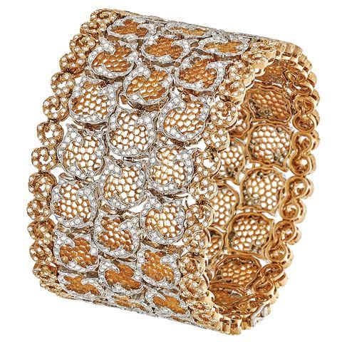 """<p><em>Buccellati bracelet, <a href=""""http://www.buccellati.com/en"""" target=""""_blank"""">buccellati.com</a>.</em> </p>"""