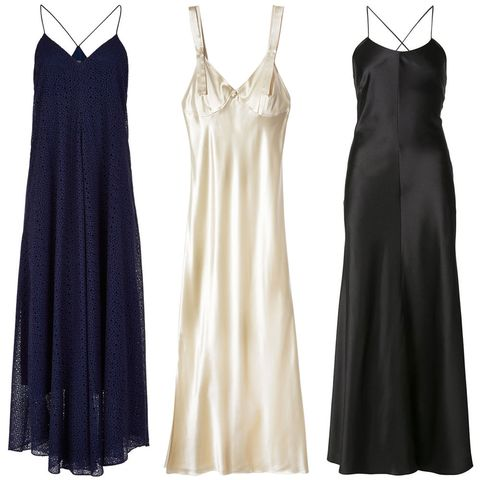 """<p><em><strong>Tibi </strong>dress, $725, <strong><a href=""""https://shop.harpersbazaar.com/designers/t/tibi/diffusion-eyelet-strappy-dress-6867.html"""" target=""""_blank"""">shopBAZAAR.com</a></strong></em><em>; <strong>Calvin Klein</strong> dress, $2,495, <strong><a href=""""https://shop.harpersbazaar.com/designers/c/calvin-klein/slip-dress-7018.html"""" target=""""_blank"""">shopBAZAAR.com</a></strong></em><span class=""""redactor-invisible-space""""><em>; <strong>Adam Lippes</strong> dress, $1,830, <strong><a href=""""https://shop.harpersbazaar.com/designers/a/adam-lippes/silk-cami-dress-7344.html"""" target=""""_blank"""">shopBAZAAR.com</a></strong></em><span class=""""redactor-invisible-space""""><em>.</em></span></span></p>"""