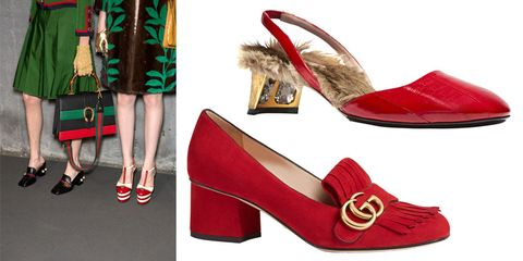 "<p>When it comes to street-style worthy shoes, Gucci reigns supreme. Last season, the front-row had a certified obsession with the <strong><a href=""http://www.harpersbazaar.com/fashion/trends/a12203/shop-the-street-style-look-all-about-gucci/"" target=""_blank"">slip-on fur-lined loafer</a></strong>. Next season, that piece is still major, and we add block-heel versions into the mix. </p><p><em><strong>Gucci </strong>fur-lined pump, $1,200, <strong><a href=""https://shop.harpersbazaar.com/designers/gucci/fur-lined-slingback-pump/"" target=""_blank"">shopBAZAAR.com</a></strong></em><span class=""redactor-invisible-space""><em>; <strong>Gucci </strong>""Marmont"" pump, $750, <strong><a href=""https://shop.harpersbazaar.com/designers/g/gucci/marmont-kid-scamosciato-heel-7220.html"" target=""_blank"">shopBAZAAR.com</a></strong></em><span class=""redactor-invisible-space""><em>.</em></span><br></span></p>"