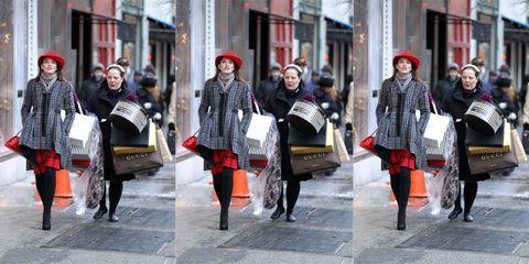 Clothing, Footwear, Leg, Road, Street, Infrastructure, Textile, Outerwear, Pattern, Street fashion,