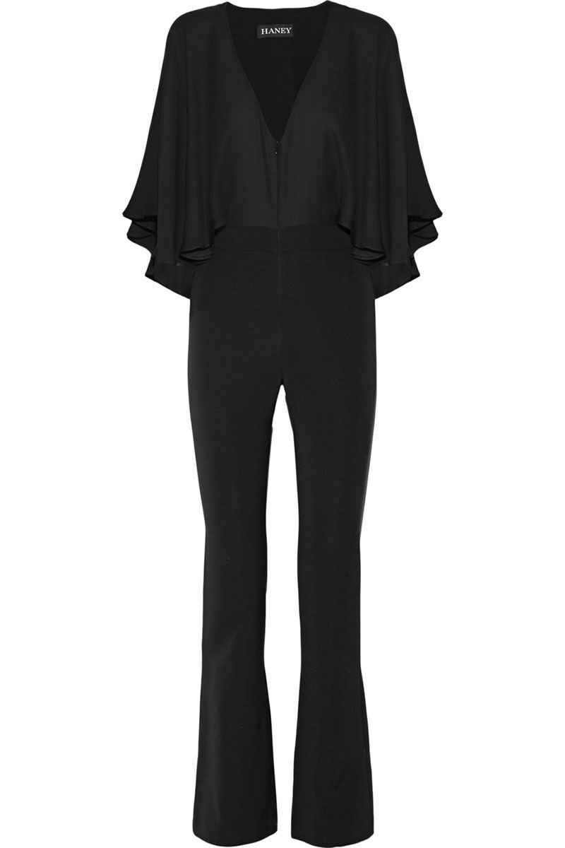 "<p><strong>Haney</strong> jumpsuit, $2,010, <a href=""http://www.net-a-porter.com/us/en/product/641826/haney/carrie-cape-effect-silk-chiffon-and-stretch-crepe-jumpsuit"" target=""_blank"">net-a-porter.com</a>.</p>"