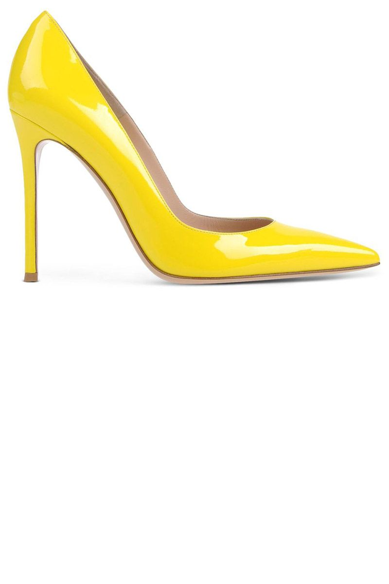 "<p><strong>Gianvito Rossi</strong> pump, $665, <strong><a href=""https://shop.harpersbazaar.com/designers/g/gianvito-rossi/yellow-pump-7304.html"" target=""_blank"">shopBAZAAR.com</a></strong>. </p>"