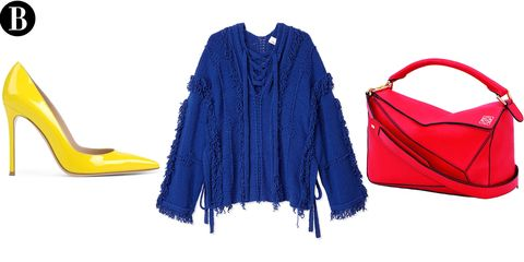 Blue, Product, Yellow, Sleeve, Textile, Electric blue, Fashion, Cobalt blue, Bag, Fashion design,