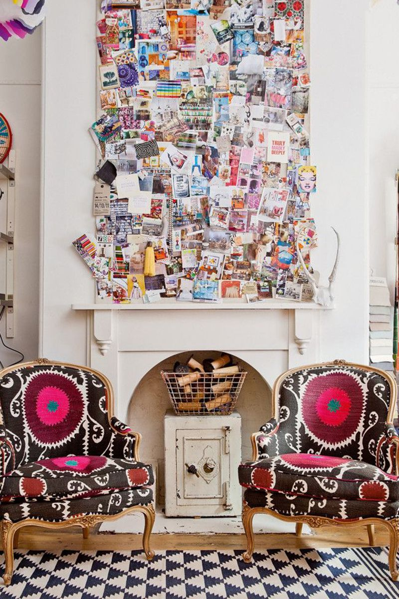 "<p>Don't know what to do with the bare space above your fireplace? Go collage crazy and bring your favorite art inspo straight to your living room.</p><p><em><a href=""http://decordemon.blogspot.com/2013_04_01_archive.html"" target=""_blank"">Via Decor Demon</a>. </em></p>"