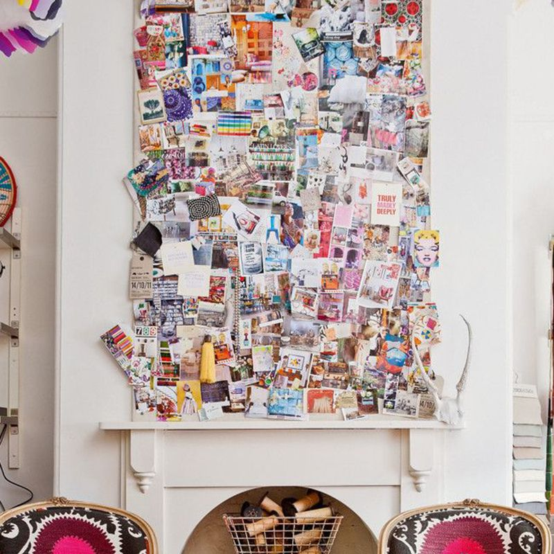 """<p>Don't know what to do with the bare space above your fireplace? Go collage crazy and bring your favorite art inspo straight to your living room.</p><p><em><a href=""""http://decordemon.blogspot.com/2013_04_01_archive.html"""" target=""""_blank"""">Via Decor Demon</a>. </em></p>"""