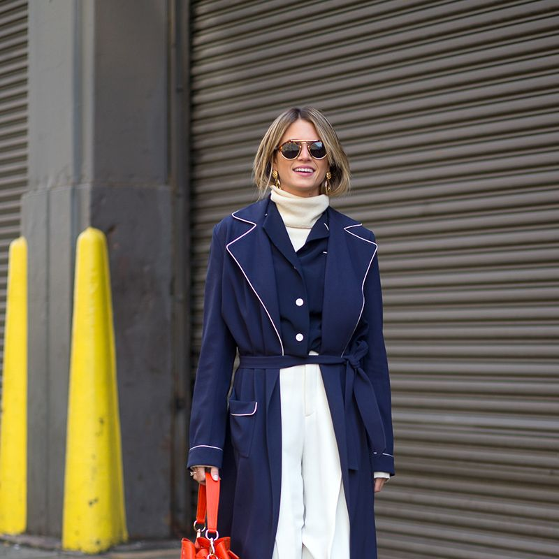 <p>There's no sleeker silhouette than a turtleneck paired with trousers. Tuck your sweater in a high-waisted pair to accentuate your waist and forgo looking frumpy. </p>