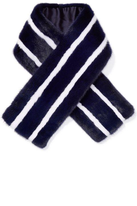 "<p><strong>Kule</strong> scarf, $650, <a href=""https://shop.harpersbazaar.com/designers/k/kule/rabbit-fur-stripe-scarf-7413.html"" target=""_blank"">shopBAZAAR.com</a>.</p>"