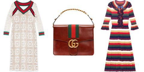 "<strong></strong><em><strong>Gucci</strong> macrame dress, $3,700, <a href=""https://shop.harpersbazaar.com/designers/g/gucci/macrame-knit-dress-8062.html"" target=""_blank"">shopBAZAAR.com</a>; <strong>Gucci</strong> bag, $3,800, <a href=""https://shop.harpersbazaar.com/designers/g/gucci/marmont-tuscany-lux-medium-flap-shoulder-bag-7865.html"" target=""_blank"">shopBAZAAR.com</a>; <strong>Gucci </strong>striped dress, $2,600, <a href=""https://shop.harpersbazaar.com/designers/g/gucci/striped-knit-dress-8064.html"" target=""_blank"">shopBAZAAR.com</a>. </em><em></em>"